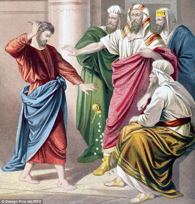 judas throws 30 pieces silver